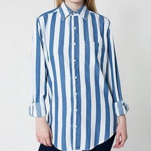 American Apparel Striped Button Up Top
